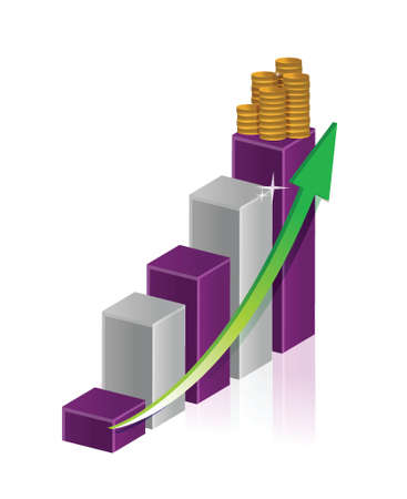 coin stack: illustration of gold coin bar with graph and arrow illustration design Illustration