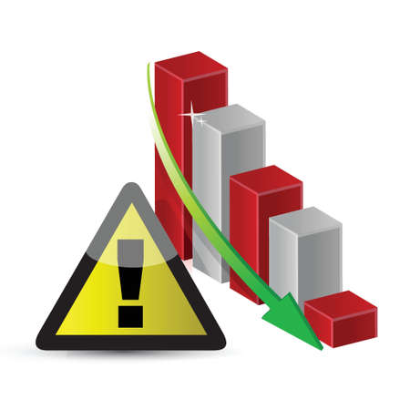 warning sign with a failing business graph illustration design Vector