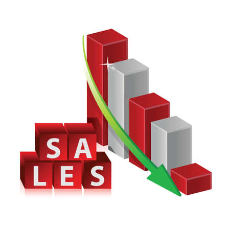 downsizing: sales Red Crisis Business Graph with Falling Arrow illustration