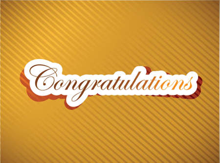 congratulations word: Congratulations lettering illustration design on a gold background