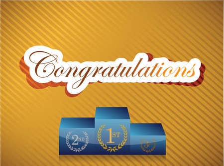 Congratulations lettering and podium illustration design on a gold background Illustration