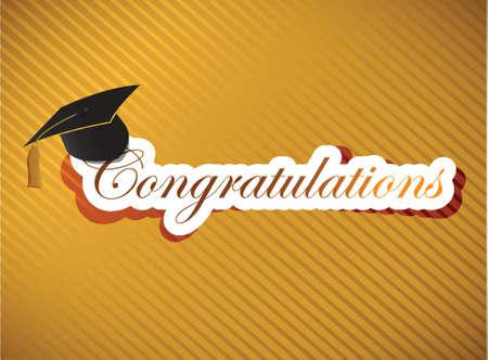 졸업 - 골드 배경에 축하 문자 그림 디자인 일러스트