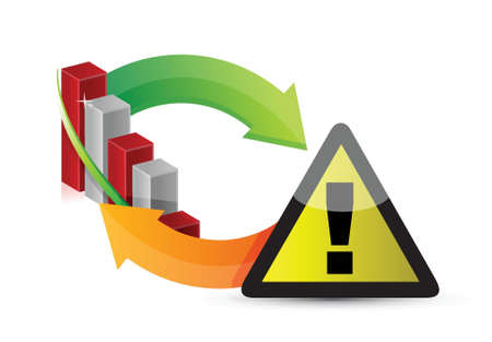 warning sign with a failing business graph cycle illustration design Vector