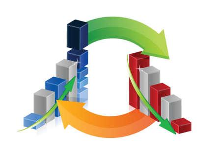 decline: graph up and down arrows illustration design Illustration