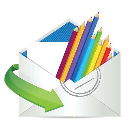 color pencils inside an envelope. Illustration design over white Stock Vector - 18210343