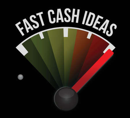 fast driving: fast cash idea speedometer illustration design graphic over a dark background