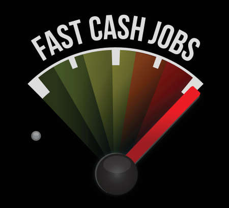fast cash jobs speedometer illustration design graphic over a dark background