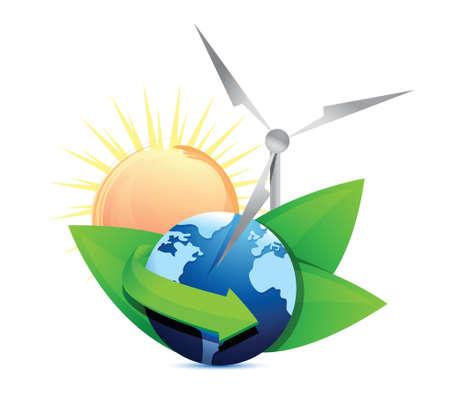 Renewal energy globe concept illustration design over white 일러스트