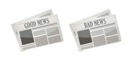 Goed en slecht nieuws voorkant krant illustratie
