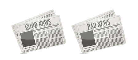 newspaper headline: Good and bad news front cover newspaper illustration Illustration