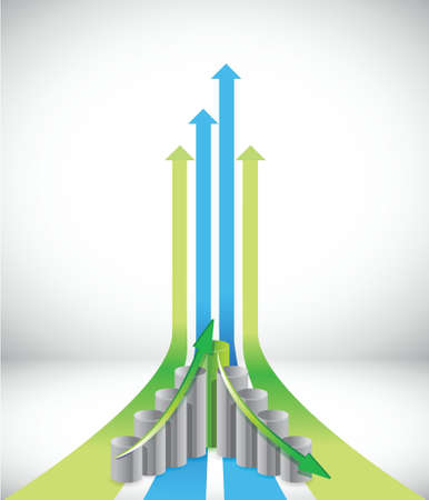 going up: Green and blue leader arrows and graph illustration