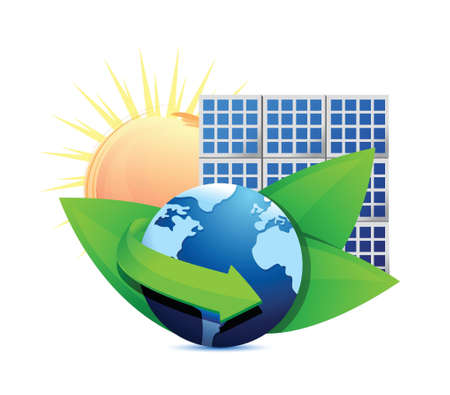 sun energy: Renewal energy globe solar panel concept illustration design over white