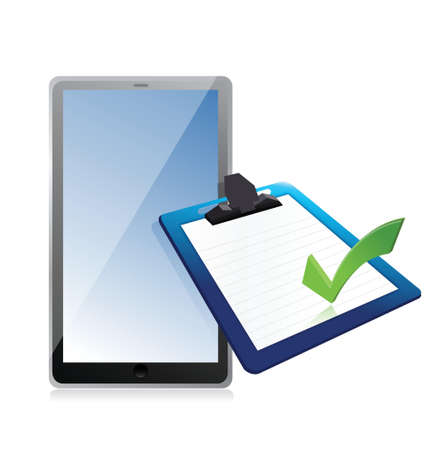 tablet and clipboard with checkmark illustration design over white
