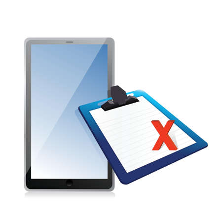 tablet and clipboard with xmark illustration design over white Vector