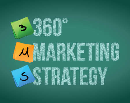 360 marketing strategy illustration design over a white background Vector