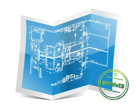approved blueprint project illustration design over a white background Vector