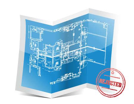 rejected: rejected blueprint project illustration design over a white background