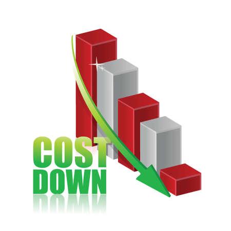 削減: ビジネス グラフ グラフ イラスト デザイン ダウン白以上のコストします。