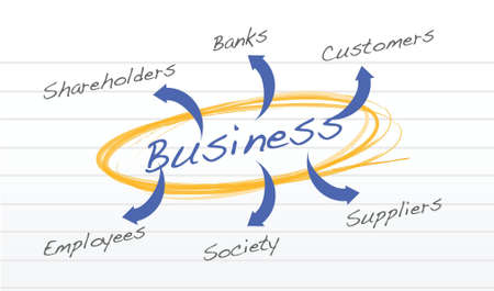 stockholder: Business diagram relationship with company illustration design Illustration