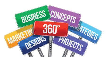 360 business concepts. color signs illustration design over white Stock Vector - 18278911