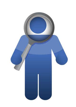 man holding a magnifier glass illustration design over white Vector