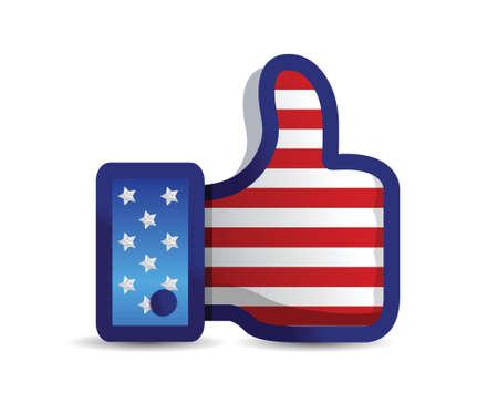 USA united States thumb up like hand illustration design