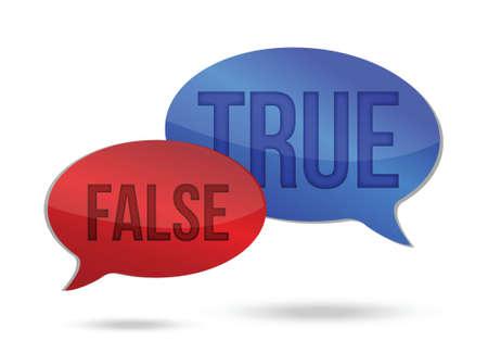 true false: true and false speech communication on a white background