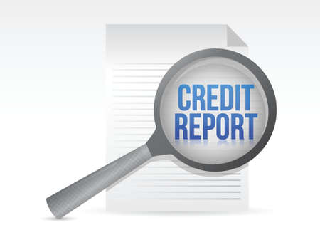 credit report: Credit Report and Magnifying Glass illustration design Illustration