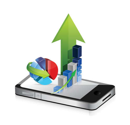 Business phone. Smartphone business graph charts on a white background.