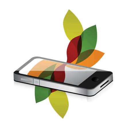floral design smartphone mobile illustration design over white Stock Vector - 18278979