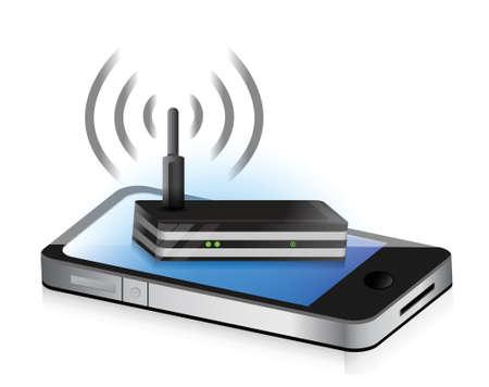 smartphone icon: router smartphone illustration design concept graphic icon Illustration