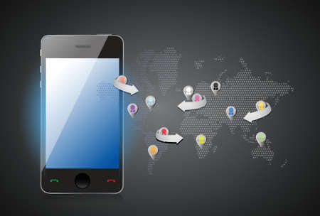 social media smartphone illustration design concept graphic Stock Vector - 18279025