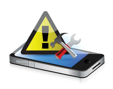 smartphone icon: warning tools smartphone illustration design concept graphic