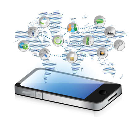 social media smartphone illustration design concept graphic Stock Vector - 18279017