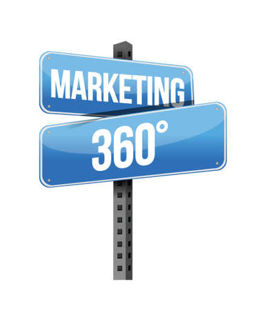 marketing 360 sign illustration design over a white background Vector
