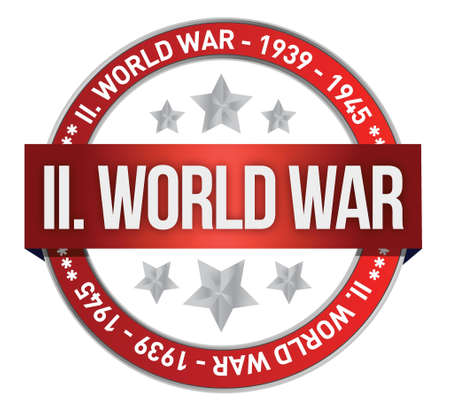 World war 2: world war two red seal stamp illustration design over white