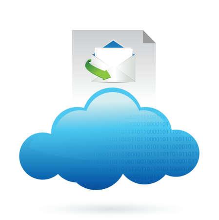 Cloud computing concept mail concept illustration design over white