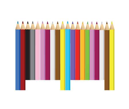 art product: color pencils barcode upc code illustration design over white Illustration