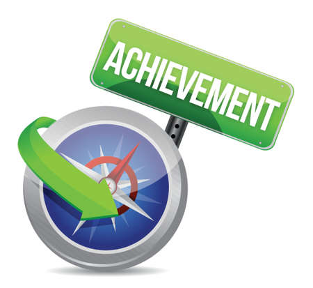 achievement Glossy Compass illustration design over white Stock Vector - 18279032