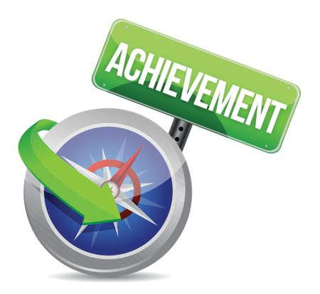 achievement Glossy Compass illustration design over white Stock Vector - 18279032