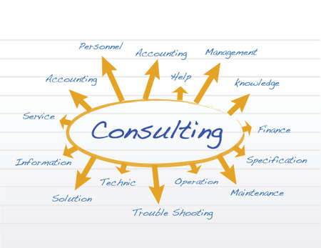 consulting concept illustration design over a notepad Vector