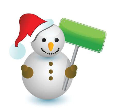 snowman with blank sign illustration design over white Vector