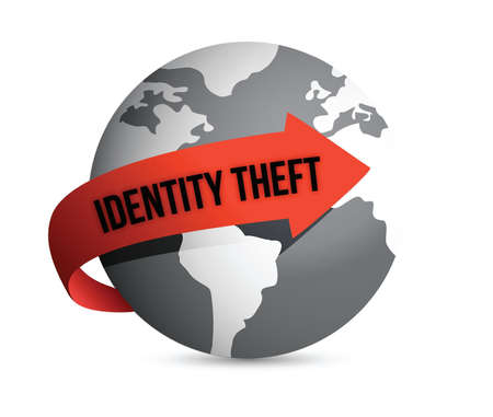 data theft: identity theft globe illustration design over a white background