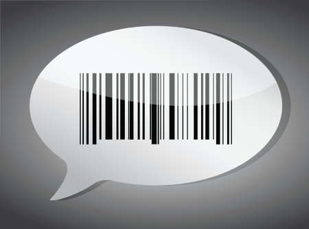 bar code: Barcode label speech bubble illustration design over a dark background
