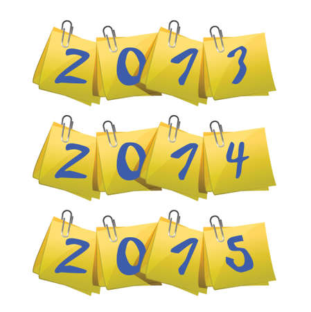 happy newyear: New 2013, 2014, 2015 Year on sticky notes illustration design over white Illustration
