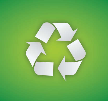 Recycling symbol illustration on a green background Stock Vector - 18278982