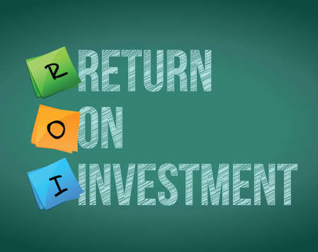 retour: ROI - return on investment illustratie ontwerp over wit