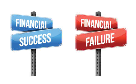 financial success, financial failure signs illustration design over a white background Ilustração
