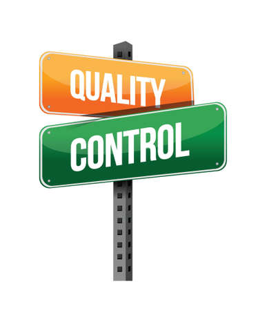 quality control sign illustration design over a white background