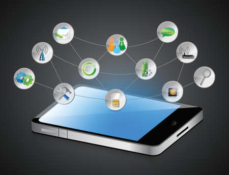 computer tablet app symbols and its functions 向量圖像
